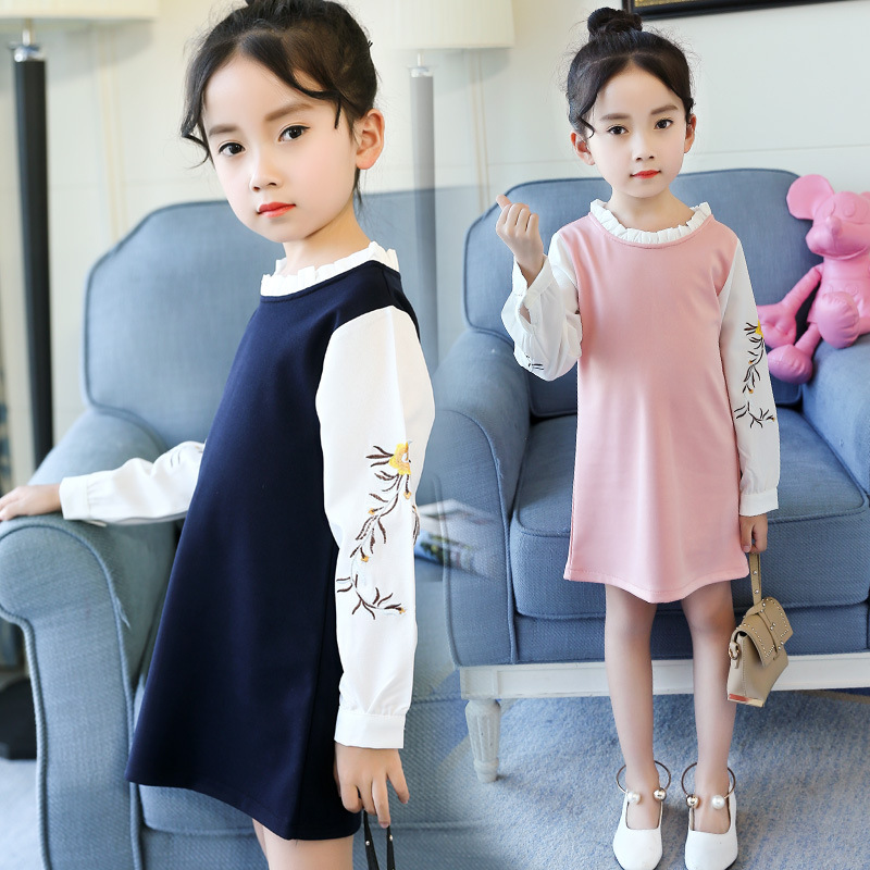 Floral Embroidery Kids Girls Long Sleeve Dresses 2018 Spring New Little Girls Dresses Wedding Princess Dress Size 8 10 12 13 14 jessica simpson little girls kenzie graphic with pleather sleeve