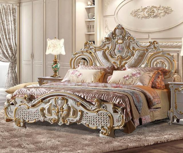 European Style Solid Wood Bed French Furniture Luxurious Solid Wood