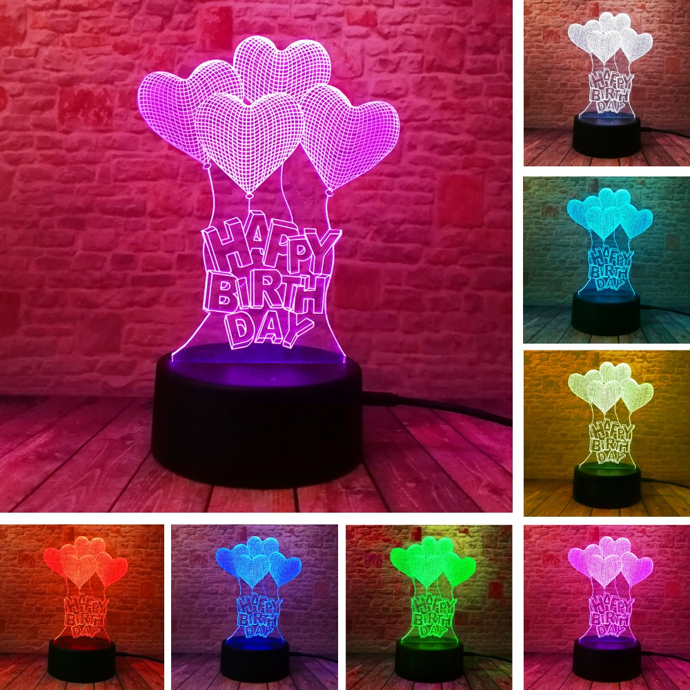 New HAPPY BIRTHDAY Love Heart Balloons 3D Visual LED RGB Night Light Bulb Table Illusion Mood Dimming Lamp 7 Color Amazing Gifts