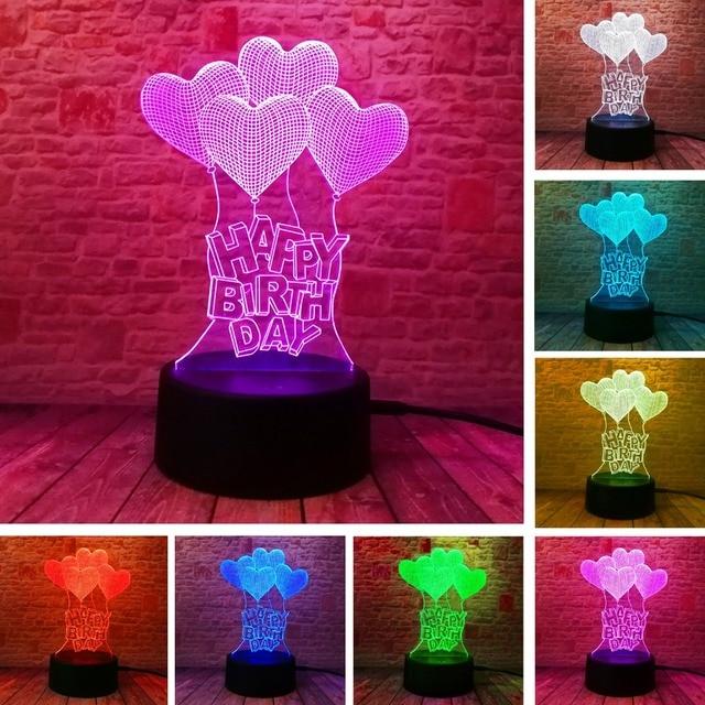 Novo feliz aniversário amor coração balões 3d visual led rgb noite lâmpada de mesa ilusão humor escurecimento 7 cores incrível