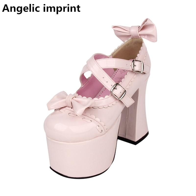 Cosplay Pompes Fille Femmes Partie Haute White Dame Pl 47 Chaussures pink Princesse Mori Pu Bowtie Super Femme Angélique Robe Talons Lolita Empreinte 33 XqwSCP