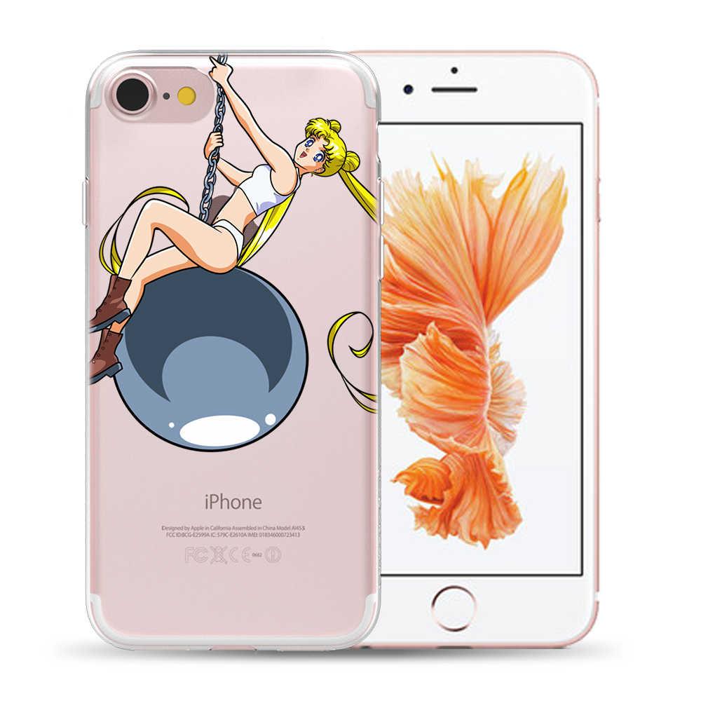 Sailor Moon miękkie Etui tpu pokrywa dla iPhone X XS 11 Pro Max XR 8 7 6 6S Plus 5 5S SE przezroczysty Capa Etui dla iPhone 7 Plus