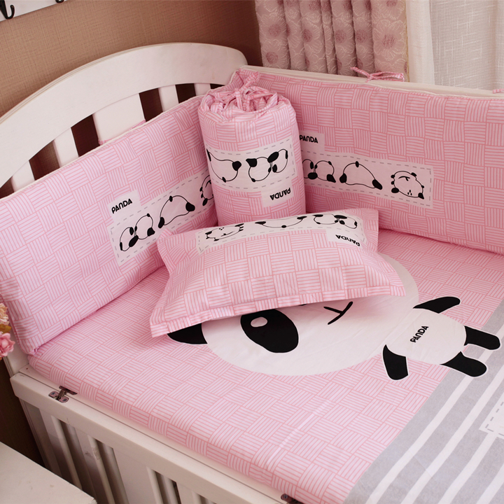 3 Pcs Sets Panda Cartoon Pattern Cotton Baby Bedding Set