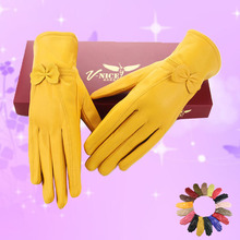 Lady New Arrival Fashion Gloves Women's Outdoor Sheepskin Mittens Female Plus Cashmere Autumn and Winter Gloves B-6021