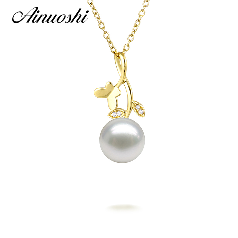 AINUOSHI 18K Yellow Gold Butterfly Leaves Shaped Diamond Pendant Necklace 7.5-8mm Natural Fresh Water Pearl Rose Gold Necklace bk 4371 18k alloy crystal artificial fancy color diamond pendant necklace golden 45cm