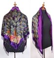 Free Shipping Purple Chinese Women's Silk Velvet Triangle Shawl Beaded Embroidery Scarf Scarves Flowers Peacock GF-003