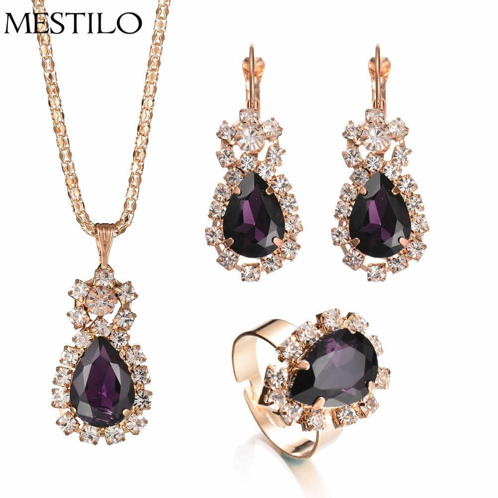 MESTILO Nigerian Luxury Gold Crystal Water Drop Earrings Necklaces Pendants Adjustable Ring For Women Fashion Dubai Jewelry Sets