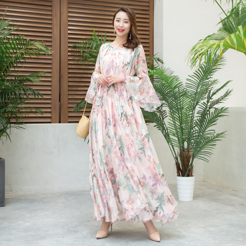 long maxi chiffon dress femme vestidos flare sleeve Flower print Pink dress boho chic hippie women