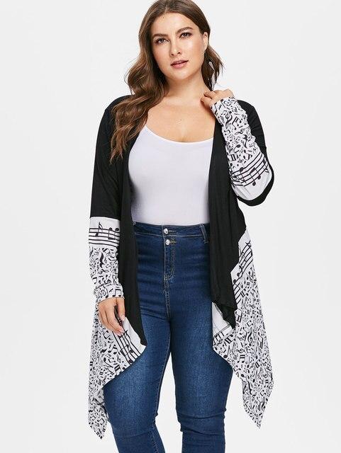 Wipalo Warm Autumn Plus Size 5XL Musical Notes Draped Coat Women Printed Cardigan  Coat Casual Loose Long Jacket Outwear Coat 535bb8154386