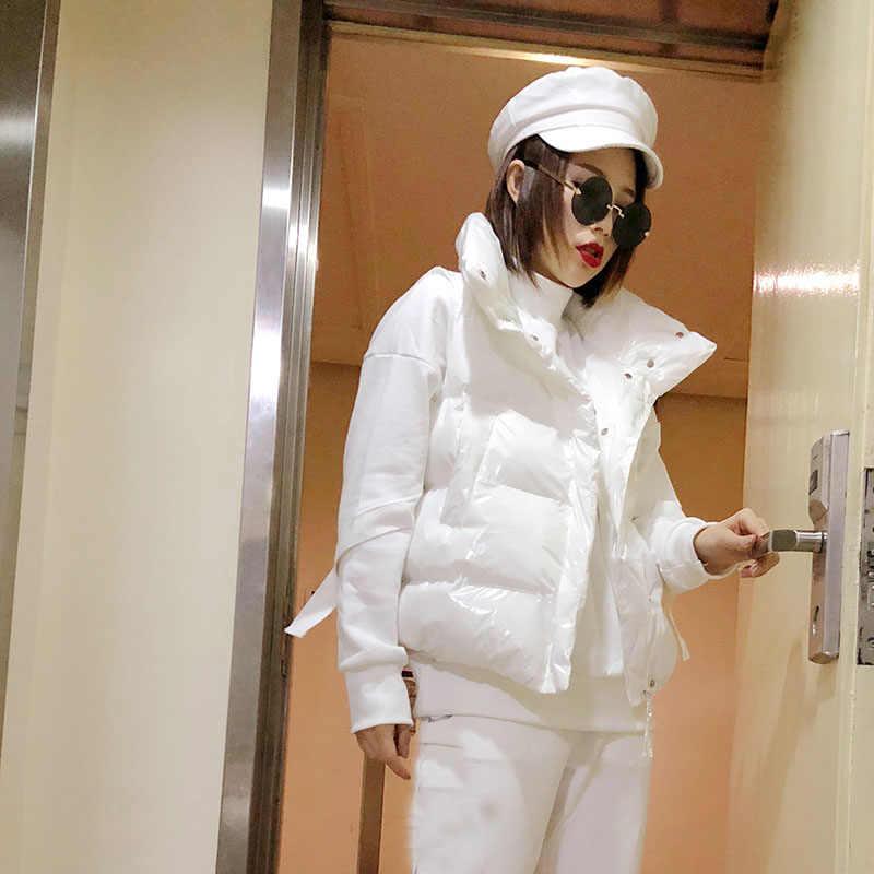 Blue Bright Color Down Cotton Coat Vest Women Cotton Vest Womens Parkas Winter Short Jacket Womens Parkas Chaleco Mujer A451