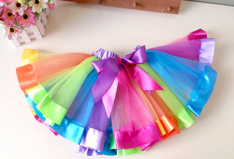 Aliexpress Com Buy Ribbon Rainbow Tutu Pettiskirt With