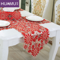 Table Runner Embroidery European Elegant Tablecloth Organza FABRIC Embroidered Rustic Table Runners Wedding Decoration Cover