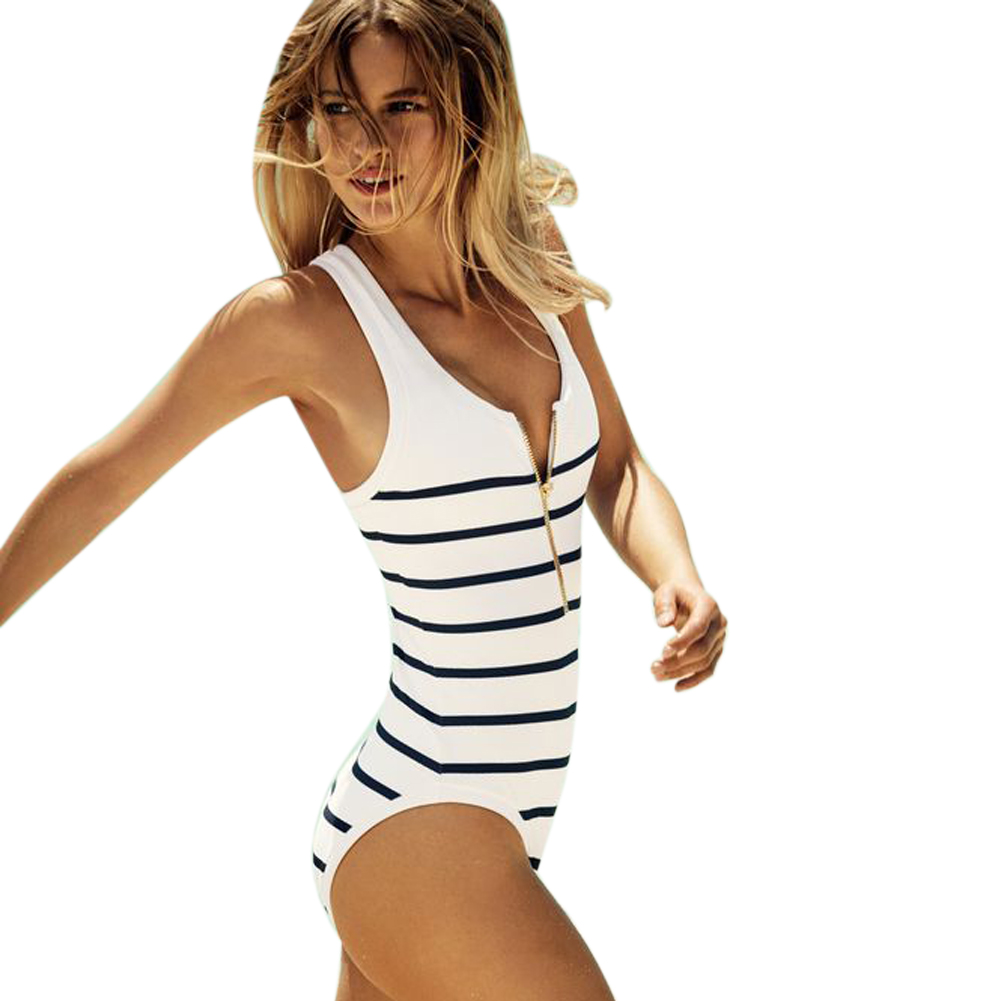 New Swimwear Women 2017 One Piece Swimsuits Sexy Striped Removable Padding monokini Swim Bathing Suits maillot de bain