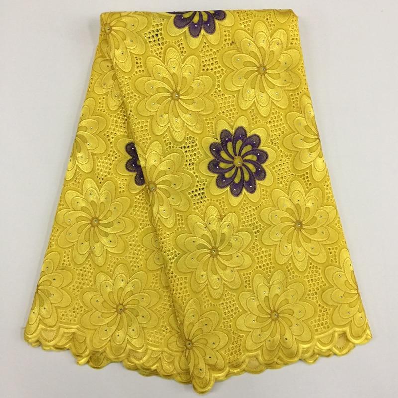 Giallo di alta qualità Pianura francese ricamo fabbrica diretta feltro cord new Svizzero Africano del voile di cotone tessuto del merletto per il vestito cucito