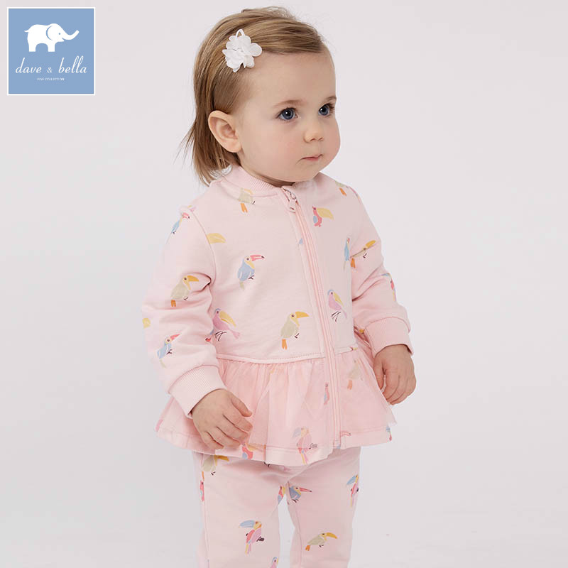 цены DBJ7422 dave bella spring infant baby girls fashion birds print clothing sets children 2 pc toddler baby suit