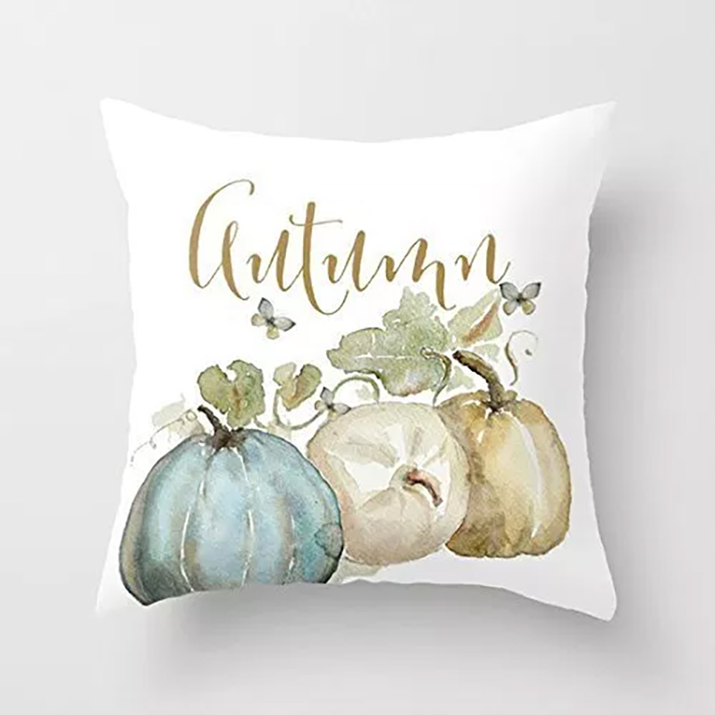 New Happy Fall Thanksgiving Cushion Cover Pillow Case Turkey Water Color Pumpkin Print Happy Halloween Party Decor Cushion Cover