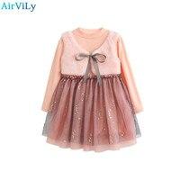 Girls Dress 2018 New Winter Dresses Fur Vest Children Clothing Princess Dress Pink Long Sleeve Wool