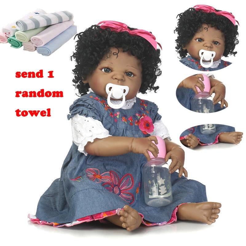 NPK 55cm Reborn bébé poupée bambin poupées souples Simulation bébé poupées à la main Silicone noir Reborn bébé poupée jouets pour enfants