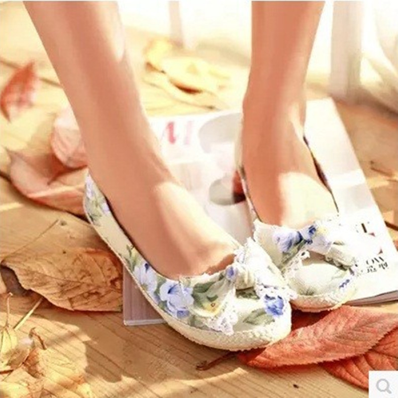 Lady's Cheap Hot selling Bow plus size 43 44 42 41Single flats floral shoes round toe cloth fabric women driving dancing footear plus size 34 41 black khaki lace bow flats shoes for womens ds219 fashion round toe bowtie sweet spring summer fall flats shoes