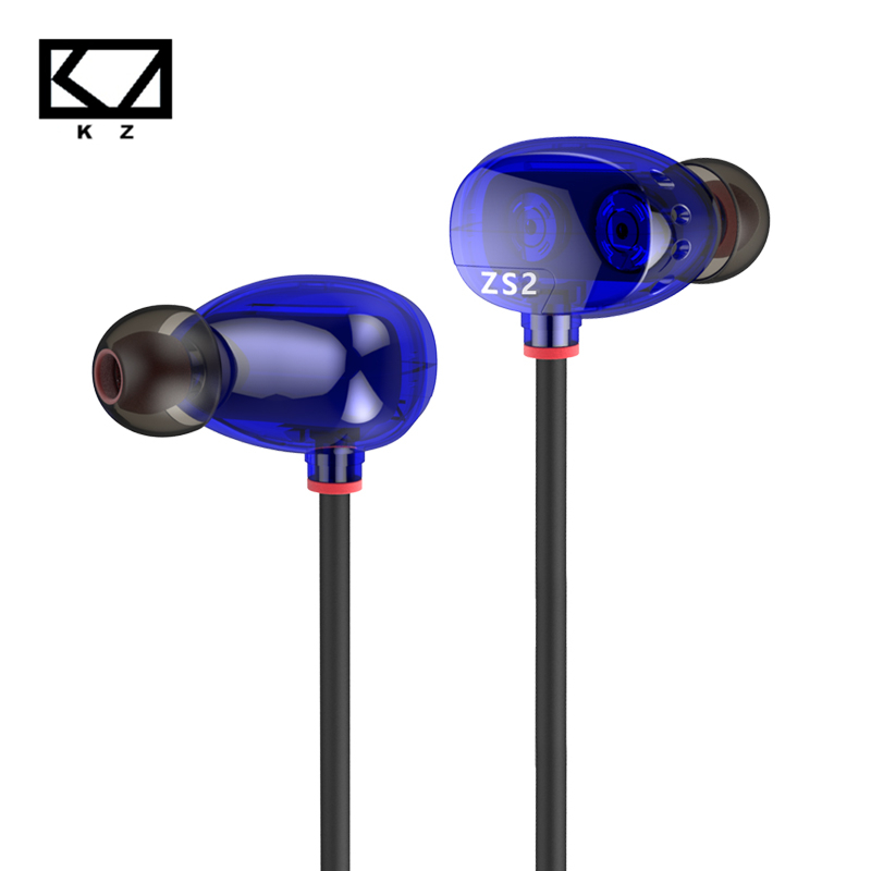 [Original] KZ ZS2 Dual Dynamic Driver Headphones Noise Cancelling Stereo In-Ear Monitors HiFi Earphone With Microphone for Phone kz zs2 in ear earphone dual driver hifi headphones bass earbuds music stereo earphones with microphone for cell phone mp3 mp4 pc
