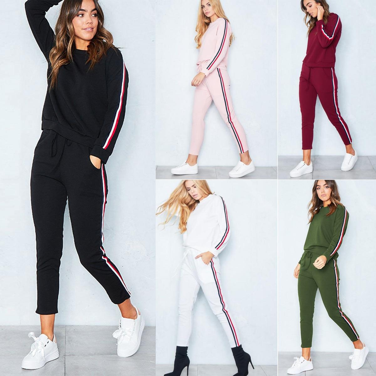 Striped Solid fashion Suit Set 2020 Women Tracksuit Two-piece Sport Style Outfit Jogging Sweatshirt Fitness Lounge Sportwear