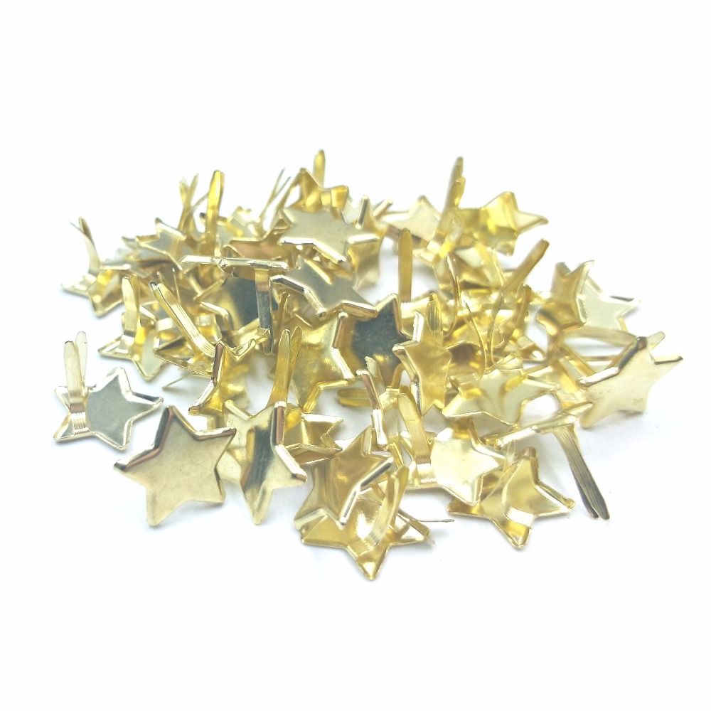 50PCs Star Brad Scrapbooking Embellishment Fastener Brads Metal Crafts For Shoes Nails Needle DIY Decoration Photo Clips 14*12mm