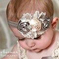 Nova moda Elastic Headbands Rose flor de cristal acessórios de cabelo do bebê meninas faixas de cabelo