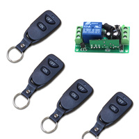 Door Access Control System 24V 12V 9V DC 1CH Wireless Remote Switch RF Remote Control Light Switch Receiver 4Transmitter 315/433