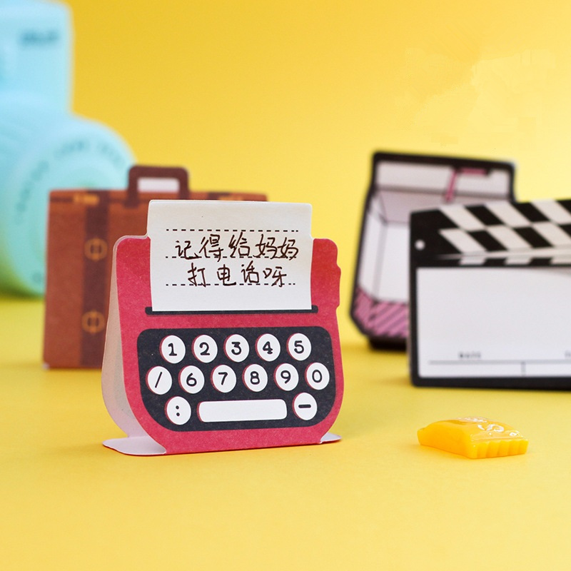 4 pcs 3D standing memo pad Camera Suitcase Milk bottle sticky note Bookmark stickers Stationery Office School supplies F195