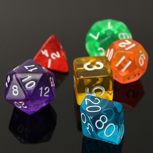 7Pcs/Set Various Sided Dice Role Playing Board Game Props Translucent Set