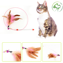 Cat toys Pet Funny Toy Plastic,Steel Wire,Feather Teaser Wand,Toy for cats interactive Christmas Cat supplies цена