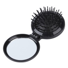 New Mini Portable Folding Health Massage Brush Hairbrush Comb with Mirror vintage style portable folding airbag massage comb with mirror