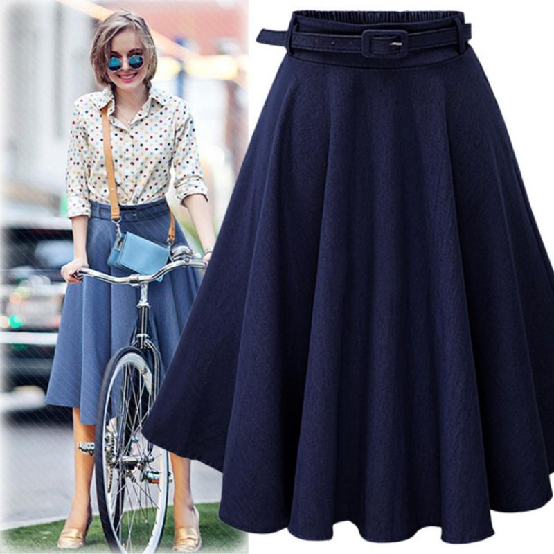 2019 Summer Autumn Women Denim Jeans Skirts A Line Casual Skirt High Elastic Waist Streetwear Midi Pleated Female Clothing