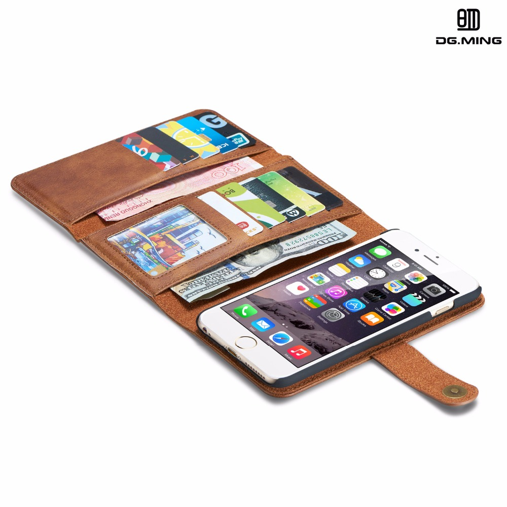 imágenes para 6/6 plus de lujo case para apple iphone 6 plus case de cuero genuino cartera para iphone 6 plus coque para iphone 6 case cubierta de cuero