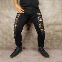 de81b751592 2019 Новая мода Для Мужчин s Повседневное стрейч обтягивающие джинсы брюки  Плотные брюки одноцветное Цвет джинсы Для