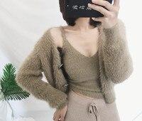 two piece suit women condole belt vest 2018 New Cardigan Women Autumn Winter Female Cardigan Korean Sweater Knitted