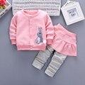IAiRAY nuevo 2017 bebés del otoño del resorte ropa bebe ropa baby girl set chaqueta de color rosa para niñas abrigo falda larga pantalones