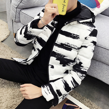 Winter Hooded Jacket Men Short Parka Black White Casual Warm Coat Thick Cotton Padded Male Parkas