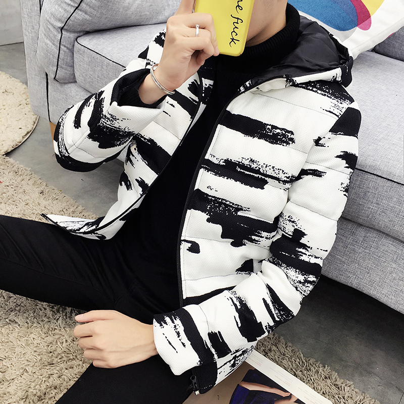 Winter Hooded Jacket Men Short   Parka   Black White Casual Warm Coat Thick Cotton Padded Jacket Male Hooded   Parkas