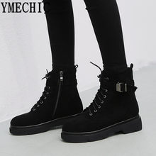 YMECHIC Ankle Military Combat Boots for Women Lace Up Cross Tied Buckle  Strap Ladies Chunky Heel Shoes Winter Booties 2018 Boot 73d19acaceae
