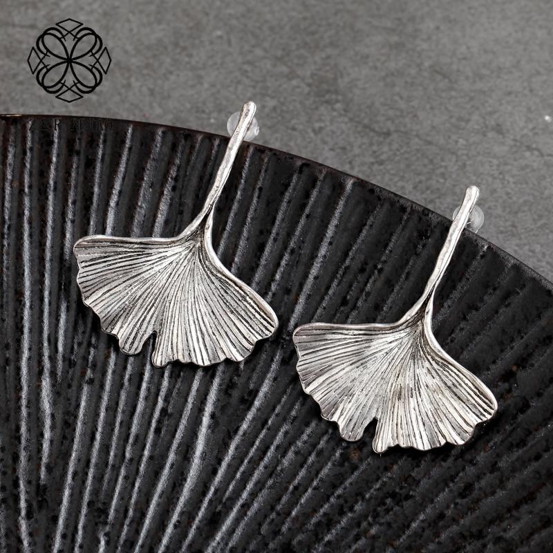Vintage Gold Silver Color Earrings Big Ginkgo Biloba Plant Leaf  Metal Leaf Earrings Statement Women Jewelry Brincos Wholesale