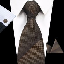 GUSLESON Brand New Silk Plaid Tie Set 8cm Brown Gray Necktie Gravata Pocket Square Tie Handkerchief Cufflinks Suit For Wedding(China)