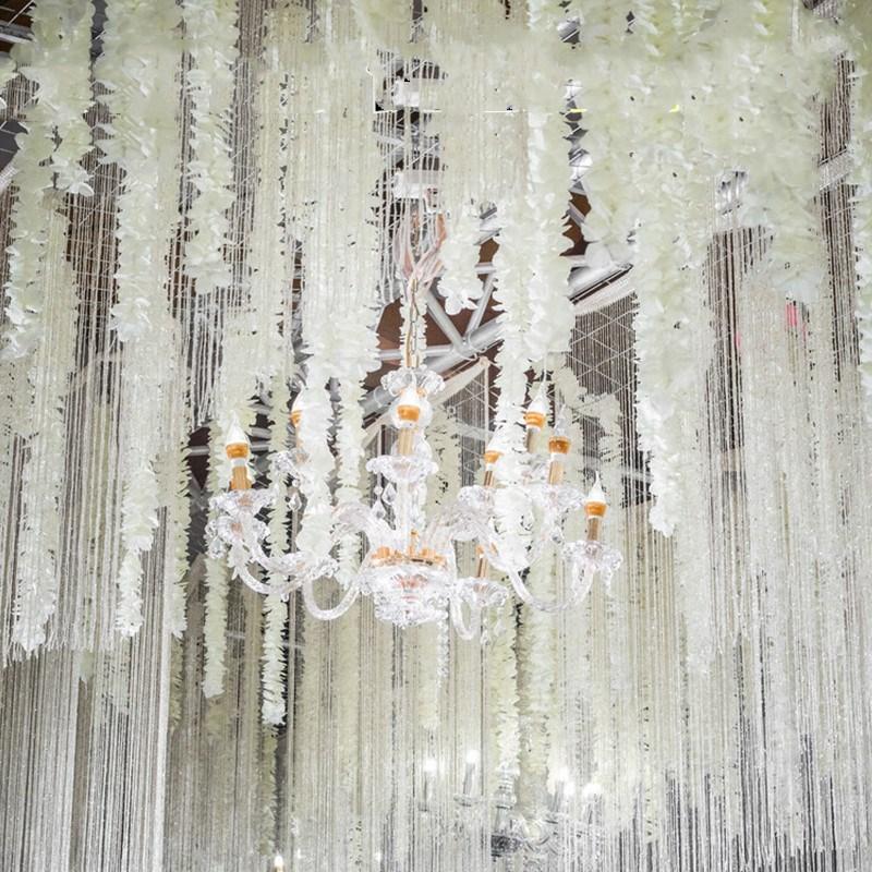 2 Metre 1 adet Lüks Yapay Ipek Çiçek Dize Orkide Wisteria Vines - Tatiller ve Partiler Için - Fotoğraf 3