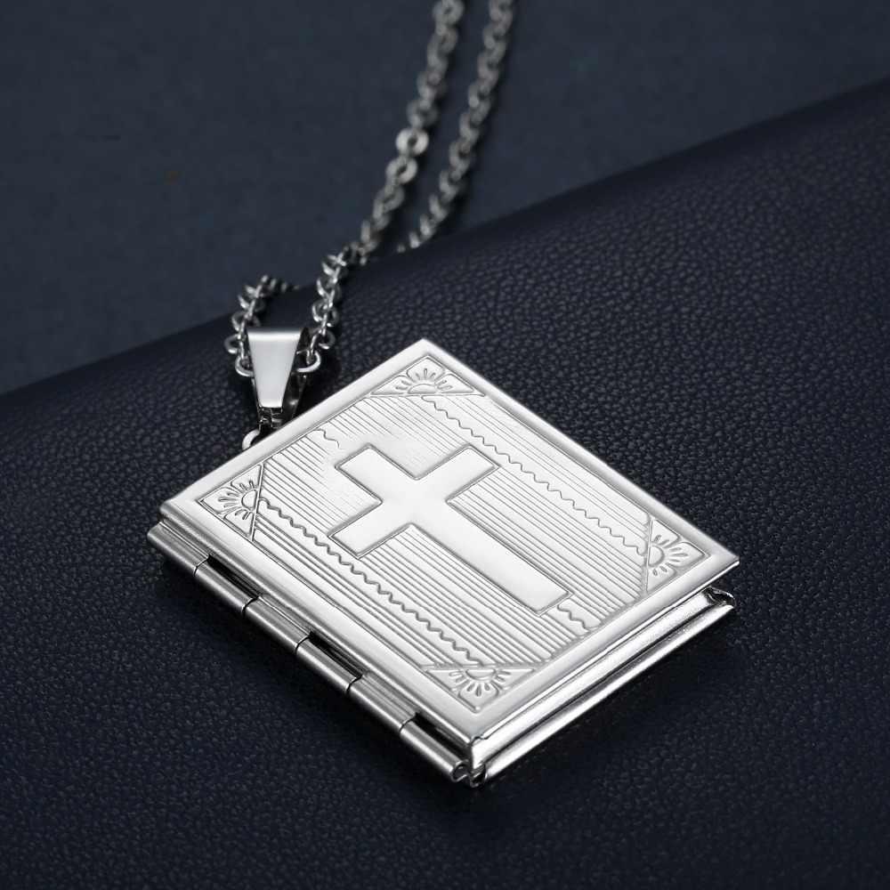 Титановый mimeng Ювелирный модный ретро крест квадратный фото кулон с секретом дамское ожерелье
