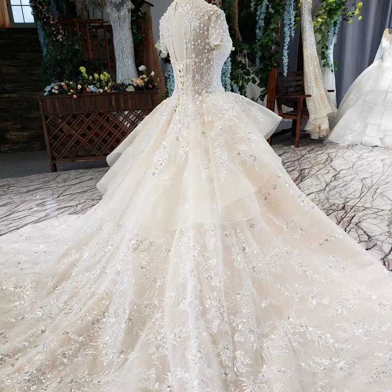HTL636 יוקרה חתונה שמלה עם קריסטל ושרוולים אשליה o-צוואר תחרה עד בחזרה הכלה שמלת שמלה ארוך vesrido דה noiva sereia