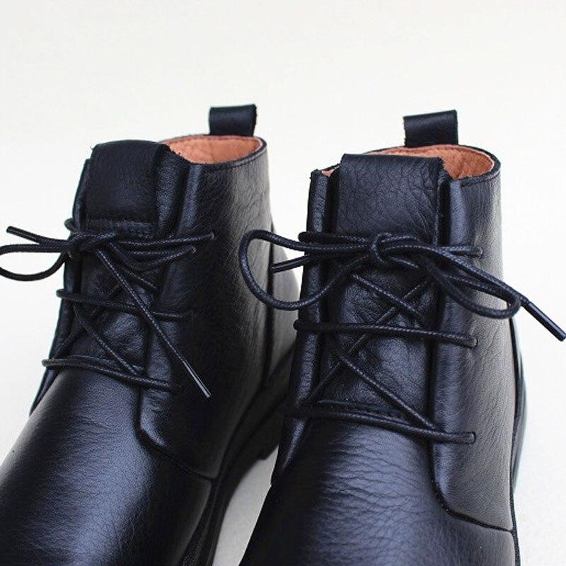 Zapatos de mujer botas de invierno de felpa 100% de cuero genuino con cordones botas de tobillo de mujer negro zapato femenino (1319 1)-in Botas hasta el tobillo from zapatos    2