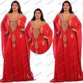 2015 Nueva Moda Árabe Marroquí Kaftan Jalabiya Abaya En Dubai Oro Rojo Con Cuentas Vestidos de Las Mujeres Musulmanes Vestido de Noche Por Encargo