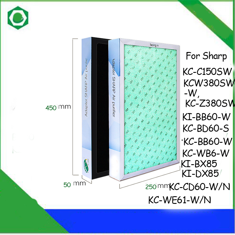 45*25*5cm Air Purifier Filter for Sharp KC-C150SW KC-WE61-W/N KC-Z380SW KC-CD60-W/N KC-WB6-W KI-BX85 KI-DX85 Air Purifier