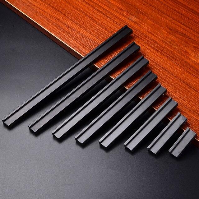 0 9 8 Tailles En Alliage D Aluminium Modoernized Poignee De Porte Bouton Pour Meubles Tiroir Armoire Cuisine Placard Partie Simple Noir Materiel