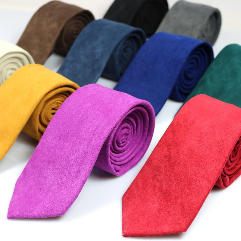 New Casual Brand 100% Cotton Ties For Men Gravatas Corbatas Slim Suits Vestidos Necktie Solid Red Yellow Navy Purple Party Ties